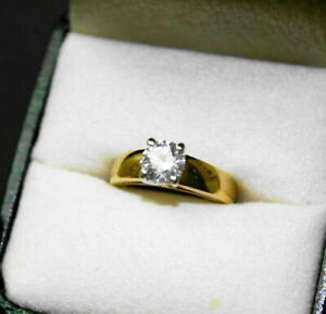 0.80 ct 18KT Yellow and White Gold Diamond Solitaire Ring