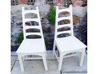 2 hand painted hardwood shabby chic chairs