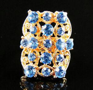 Fancy Shiny Diamante 18K GP Adjustable Ring--NEW!!