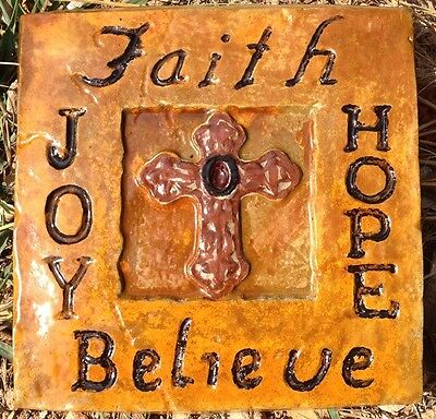 Cross with words, stepping stone,  plastic mold, concrete mold, cement, plaster