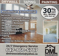 Drywall-painting- taping (stucco removal)