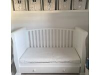 Sleigh cot bed with large drawer