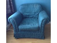 ARMCHAIR in turquoise blue. Large and comfy.