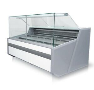 Meat salad pastry and sweets display with warranty