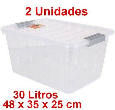 2 Unidades Caja de Almacenaje con Tapa 30 L,transparente,48x35x25cm,ropa,objetos