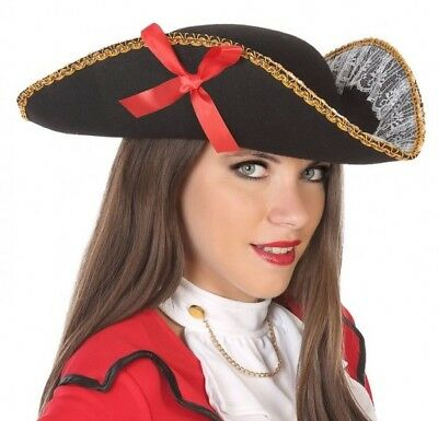 Hat TRICORN Black Lace Ribbon PIRATE Costume new woman Cheap](Cheap Womens Pirate Costume)