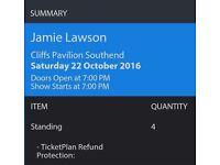 2 Jamie Lawson standing tickets cliffs pavilion Southend 22/10/16