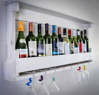 NEW RECOVERY WOOD WINE RACK-TABLE-TRAY-SHELF- GIFT