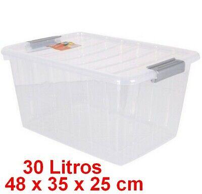 Caja de Almacenaje con Tapa 30 L,transparente,48 x 35 x 25 cm,...