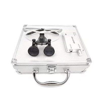 Dental Surgical 2.5x420mm Binocular Loupes Silver Led Headlight Aluminum Box