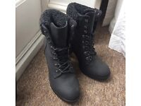 Size 4 new look grey heeled boots