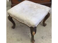 Antique Victorian walnut cabriole leg dressing foot stool good upholstery project!!!