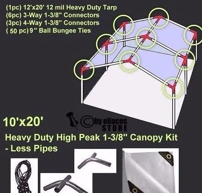 10' x 20' Heavy Duty 1-3/8'' Carport Canopy Kit White *NO PIPE POLES INCLUDED