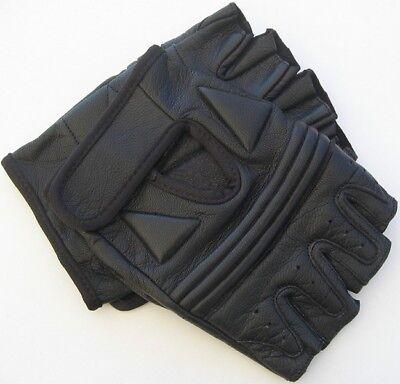 Fingerless Handschuhe Chopper-Handschuhe aus Leder Größe L schwarz
