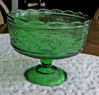 E.O. Brody Co. - Footed Green Glass Fruit Bowl