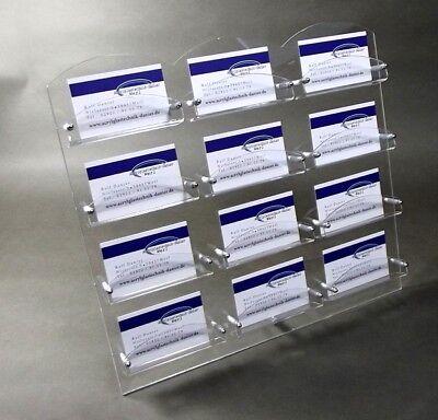 NEU 12-Fach Visitenkartenständer mit Metallfuß aus Acrylglas,Visitenkartenhalter