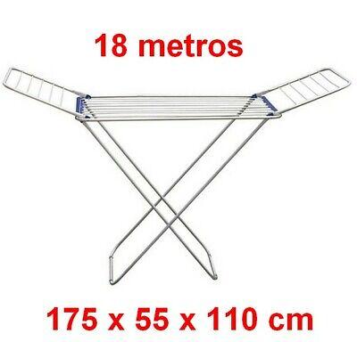Tendedero Plegable colgador secador de ropa aluminio 18 metros,175 x 55 x...