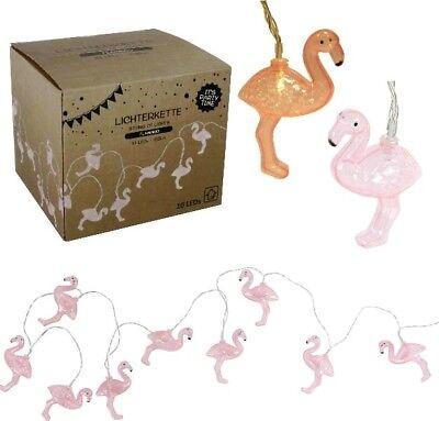 LED Lichterkette Flamingo Pink Partybeleuchtung 10 LED´S 165cm Batteriebetrieben