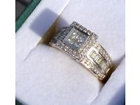 18kt Gold Two Tone Diamond Cluster Ring