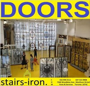 Wrought iron insert Glass Entry Doors,Stairs parts,Glass Railing