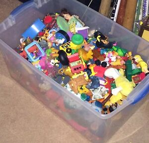 2 bins of McDonald's toys, mixed toys. Etc.