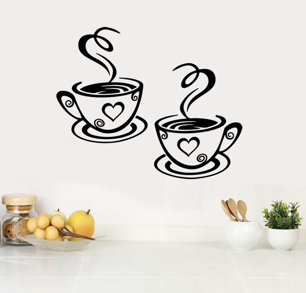 Home Decoration - 2 Coffee Cups Kitchen Wall Stickers Cafe Vinyl Art Decals (FCC04)