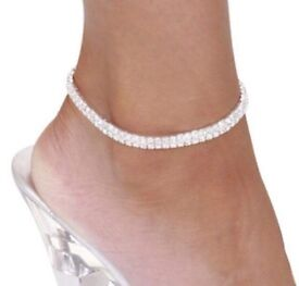 Diamanté Double Row Stretch Anklet Fashion Jewellery Christmas Gift