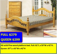 Queen Colonial style solid wood bed $299. Full size: $279