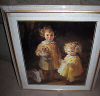 """LARGE FRAMED PRINT """"TWO LITTLE GIRLS"""".GALLERY PIECE."""