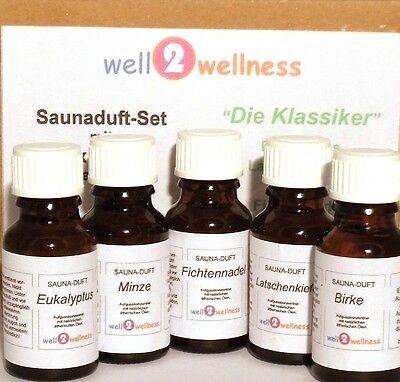 Sauna Saunaaufguss Set / Saunaduft Set - 'Die Klassiker' mit 5 x 15ml Flaschen