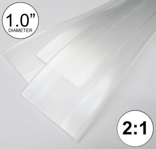 """1.0"""" ID Clear Heat Shrink Tube 2:1 ratio 1"""" wrap (3x8"""" = 2 ft) inch/feet/to 25mm"""