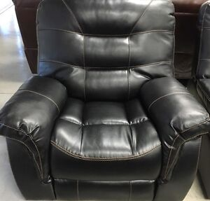 New Black Bonded leather rocker recliner with contrast stitch600