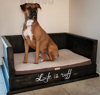 SPRING SALE-NEW RECOVERY WOOD DOG BED-GREAT GIFT