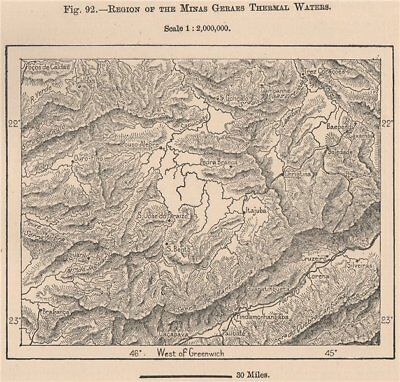 Region of the Minas Gerais thermal waters. Brazil 1885 old antique map chart