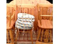 Pine extendable table and 6 chairs