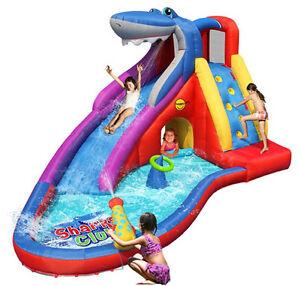 Castello gonfiabile scivolo squalo gioco 450 cm con piscina bambini spruzzi ebay - Piscine gonfiabili per bambini toys ...