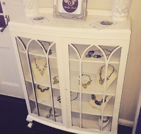 Shabby chic distressed white cabinet