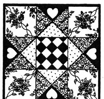 Unmounted Rubber Stamps, Quilts, Quilt Stamp, Sewing, 2 pc. Quilting Squares Set