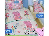 LOVELY Peppa Pig single duvet set reversible duvet, BRAND NEW
