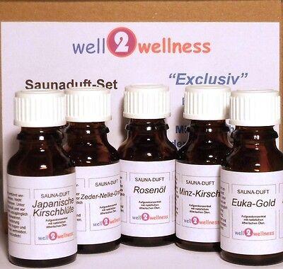 Sauna Saunaaufguss Set / Saunaduft Set - 'Exclusiv' mit 5 x 15ml Flaschen