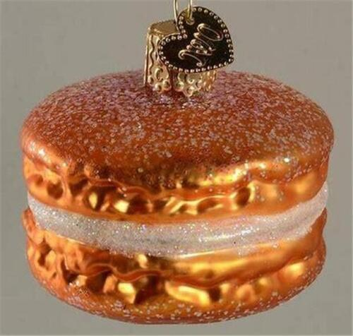 ORANGE MACARON FRENCH PASTRY OLD WORLD CHRISTMAS GLASS ORNAMENT NWT 32242