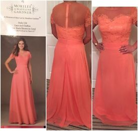 Stunning Mori Lee bridesmaid dress 14 coral