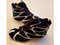 Mens Reebok black, green and white high top Kamikaze trainers.