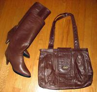 SAC d'ÉPAULE et BOTTES ¨Cristina¨ en cuir/leather BOOTS & BAG
