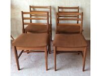 4 Vintage Retro Teak Dining Chairs