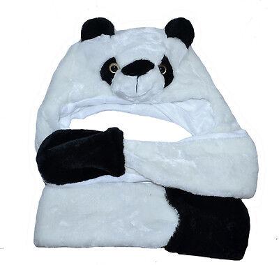 Panda Wintermütze mit Schal Tiermütze Kostüm Damen Herren Halloween Karneval