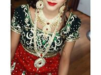 wedding dress lehnga with jewellry