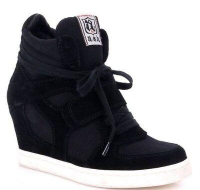 ASH 'COOL' Suede Wedge Sneaker Black Size EUR -