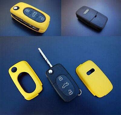 Audi Yellow Remote Flip Key Cover Case Skin Shell Cap Fob Protection Bag Hull-