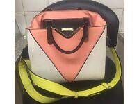 River island tote bag orange white grey and lime green Handel